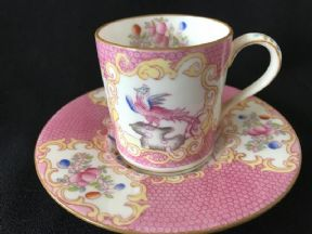 Minton Pink Cockatrice coffee can & saucer